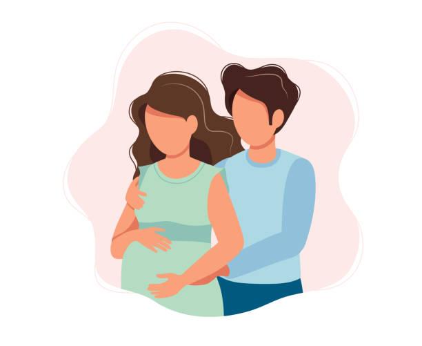 ilustrações de stock, clip art, desenhos animados e ícones de happy expecting couple - cute cartoon  concept illustration of a couple expecting a baby, healthcare, pregnancy, medicine. vector illustration - future hug