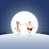 Happy expression of Santa Claus and Reindeer on blue night moonlight winter landscape