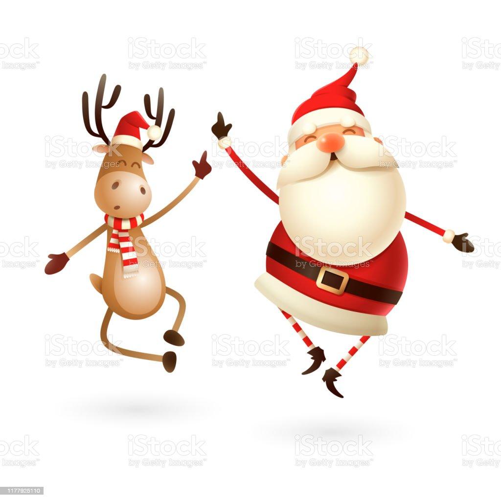 Glücklicher Ausdruck von Weihnachtsmann und Reindeer - sie springen gerade nach oben und bringen ihre Fersen klatschend zusammen - Lizenzfrei Alt Vektorgrafik
