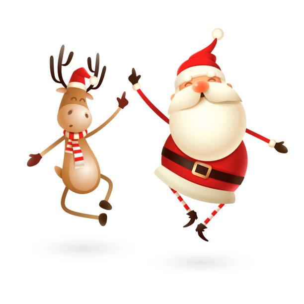 glücklicher ausdruck von weihnachtsmann und reindeer - sie springen gerade nach oben und bringen ihre fersen klatschend zusammen - santa stock-grafiken, -clipart, -cartoons und -symbole