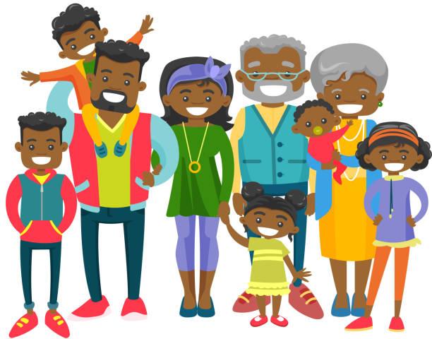 ilustraciones, imágenes clip art, dibujos animados e iconos de stock de feliz familia extendida de afroamericano - nieto
