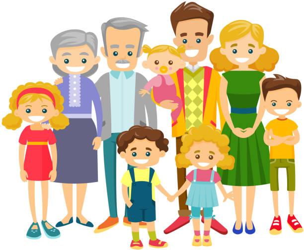 illustrazioni stock, clip art, cartoni animati e icone di tendenza di happy extended caucasian smiling family - couple portrait caucasian