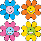 Vector illustration of four cute happy face flowers.