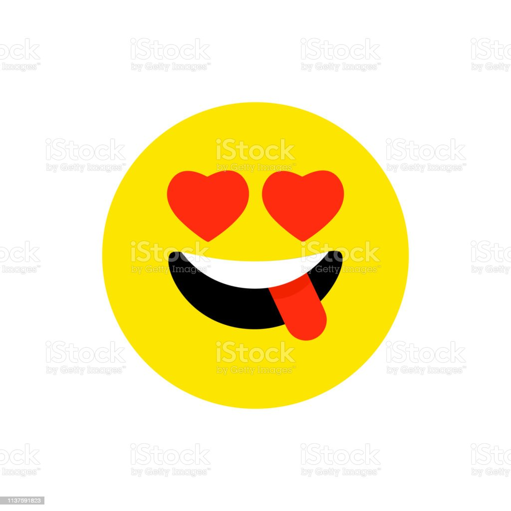 Happy Face Smiling Emoji With Open Mouth Funny Smile Flat