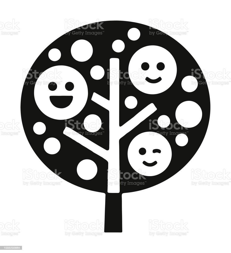Happy Face Tree vector art illustration