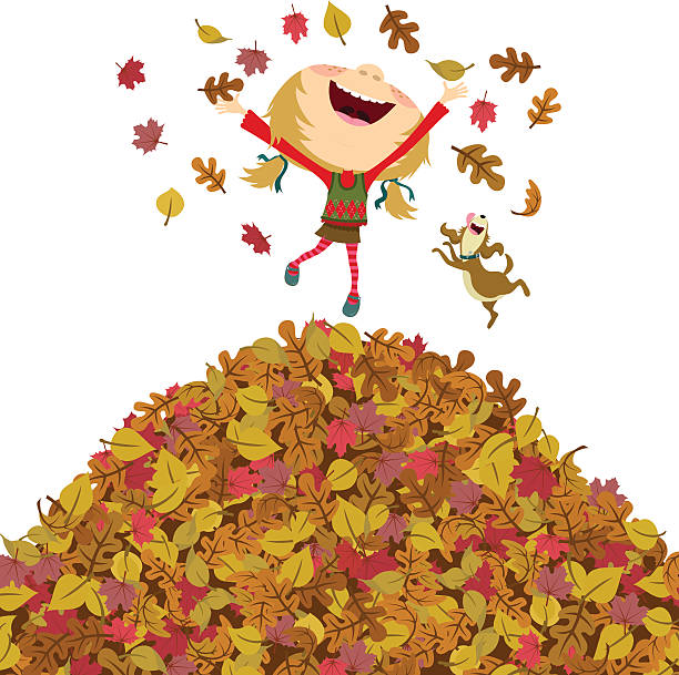 bildbanksillustrationer, clip art samt tecknat material och ikoner med happy fall girl - children autumn