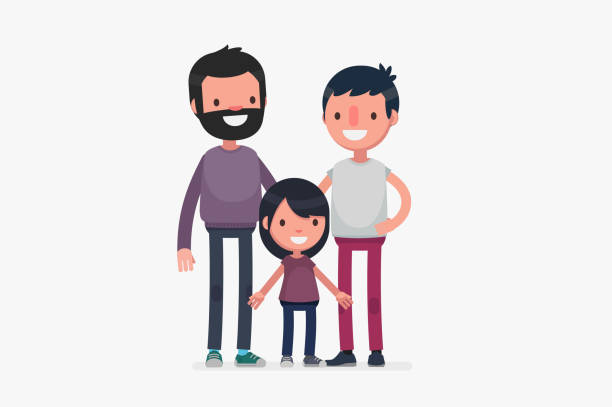 illustrazioni stock, clip art, cartoni animati e icone di tendenza di happy families isolated vector illustration - coppia gay