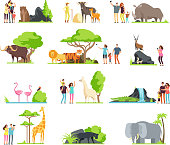 Happy families, kids with parents and wild zoo animals in wildlife park. Vector cartoon set isolated on white background. Illustration of giraffe and bird, bear and panther