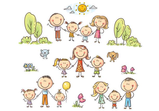 Happy families set with children, vector illustration vector art illustration