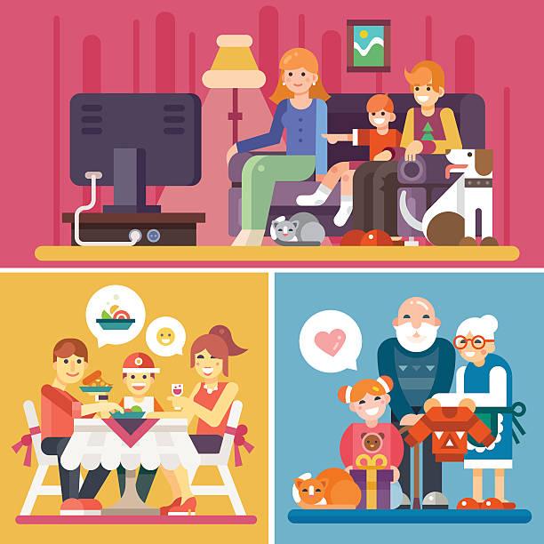 stockillustraties, clipart, cartoons en iconen met happy families! - tafel restaurant top