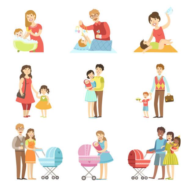 glückliche familien mit kindern und babys - wickeltisch stock-grafiken, -clipart, -cartoons und -symbole