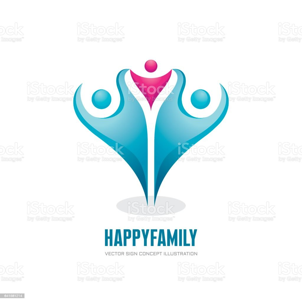 Gelukkige familie - abstracte cijfers - vector logo concept illustratie. Groep mensen. Sociale media symbool. Teamwork teken. Vriendschap. Ontwerpelementen. - Royalty-free Abstract vectorkunst