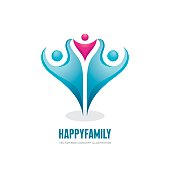 Happy family - abstract figures - vector logo concept illustration. People group. Social media symbol. Teamwork sign. Friendship. Design elements.