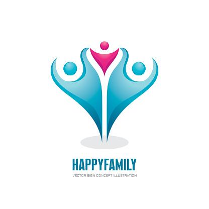 Gelukkige Familie Abstracte Cijfers Vector Logo Concept Illustratie Groep Mensen Sociale Media Symbool Teamwork Teken Vriendschap Ontwerpelementen Stockvectorkunst en meer beelden van Abstract