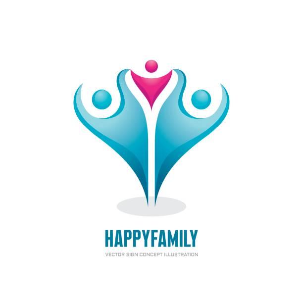 stockillustraties, clipart, cartoons en iconen met gelukkige familie - abstracte cijfers - vector logo concept illustratie. groep mensen. sociale media symbool. teamwork teken. vriendschap. ontwerpelementen. - festival logo baby