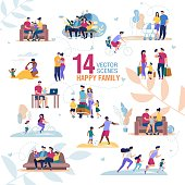Happy Family Activities, Recreation Scenes Trendy Vector Set Isolated on White Background. Parents with Children Characters Spending Time Together at Home, Playing Game, Doing Exercises Illustration