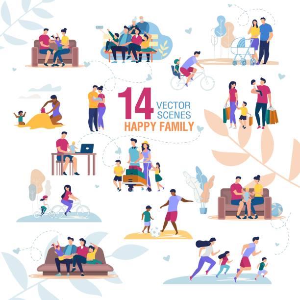 ilustrações de stock, clip art, desenhos animados e ícones de happy family activities scenes flat vector set - family