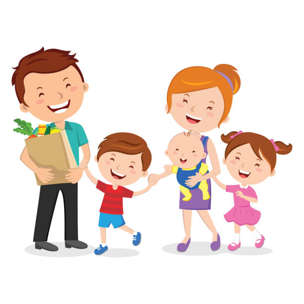 Happy family after shopping for groceries vector art illustration