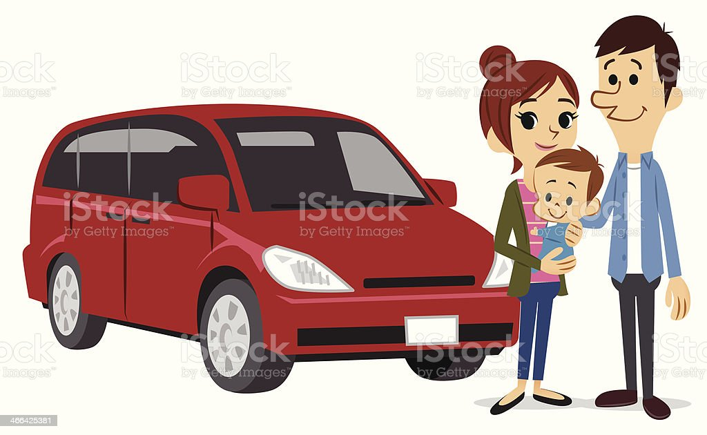 Happy family and a car vector art illustration