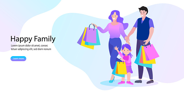 happy family and children shopping. Father, mother and children with packages and purchases. Vector illustration of a cartoon style.