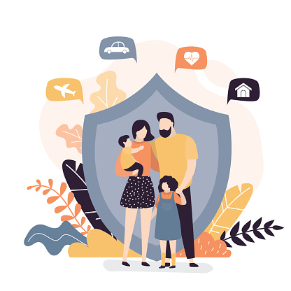 Happy family and protection shield. Insurance,healthcare concept banner. Assurance plan, full insurance coverage background.