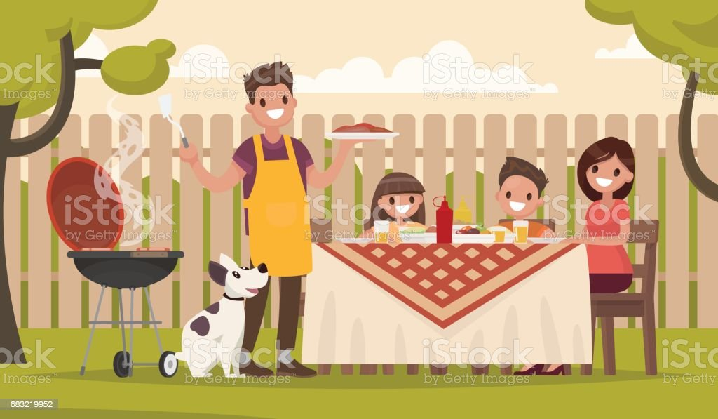Happy family at a picnic is preparing a barbecue grill outdoors. Vector illustration vector art illustration