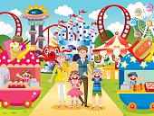 Vector illustration – Happy family at amusement park .