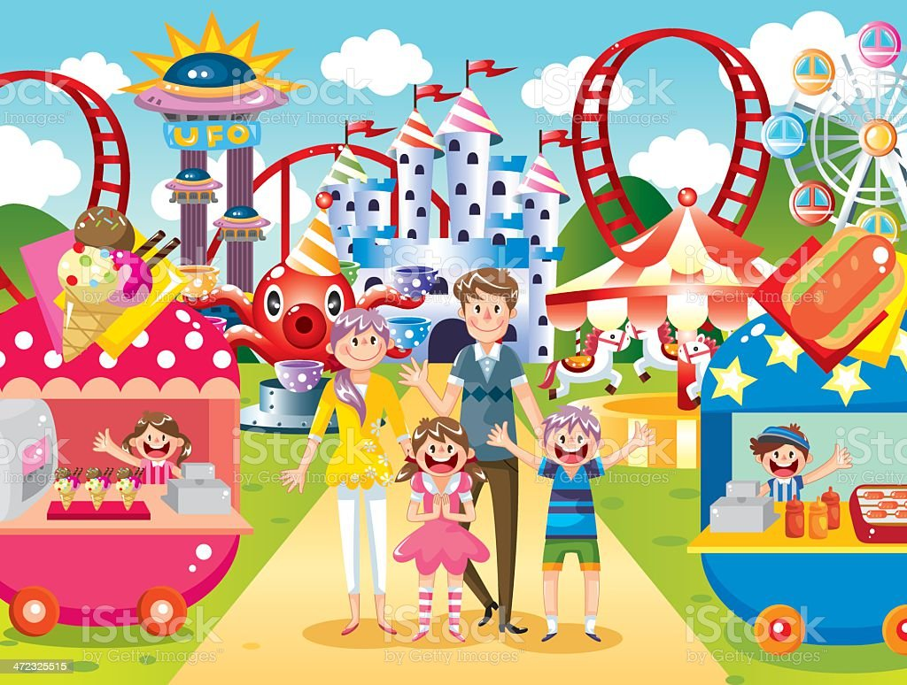 Happy family at amusement park vector art illustration