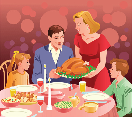 Happy Family at Thanksgiving Dinner