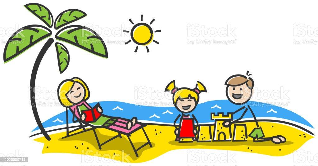 Famille Heureuse à La Plage Vacances Dété Chiffres De Bâton