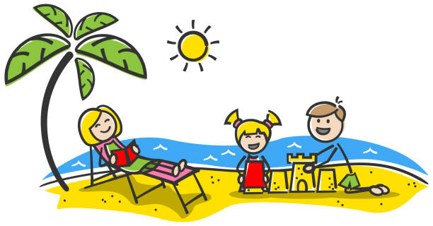 ilustrações de stock, clip art, desenhos animados e ícones de happy family at the beach. summer holiday. stick figures drawing - bebé praia