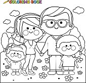 Happy family at the park coloring book page