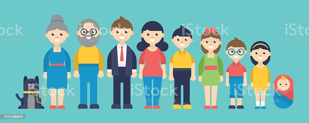 Happy family big set. Isolated vector illustration