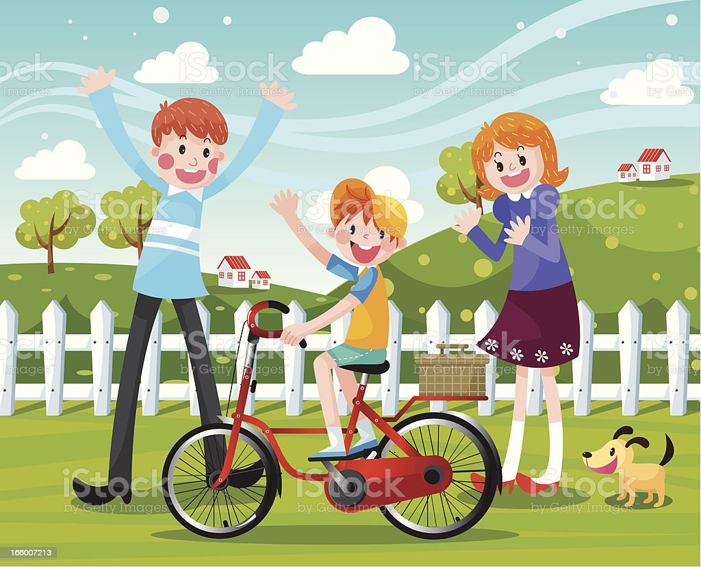 Happy Family Biking vector art illustration