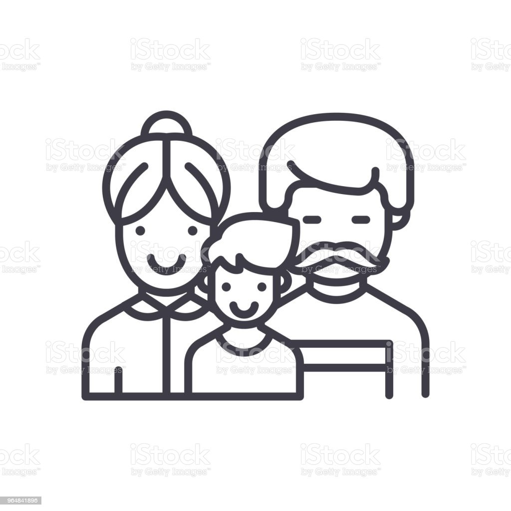 Happy family black icon concept. Happy family flat  vector symbol, sign, illustration. royalty-free happy family black icon concept happy family flat vector symbol sign illustration stock vector art & more images of adult