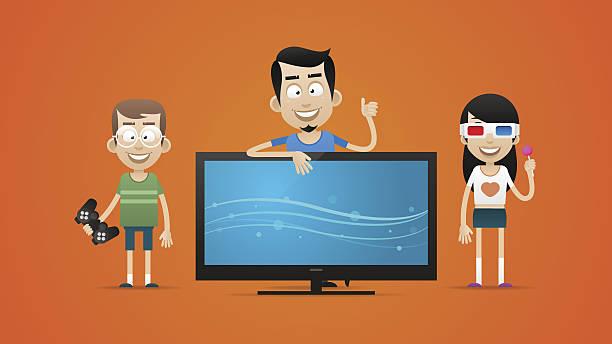 ilustrações de stock, clip art, desenhos animados e ícones de família feliz comprar nova plasma de televisão - tv e familia e ecrã