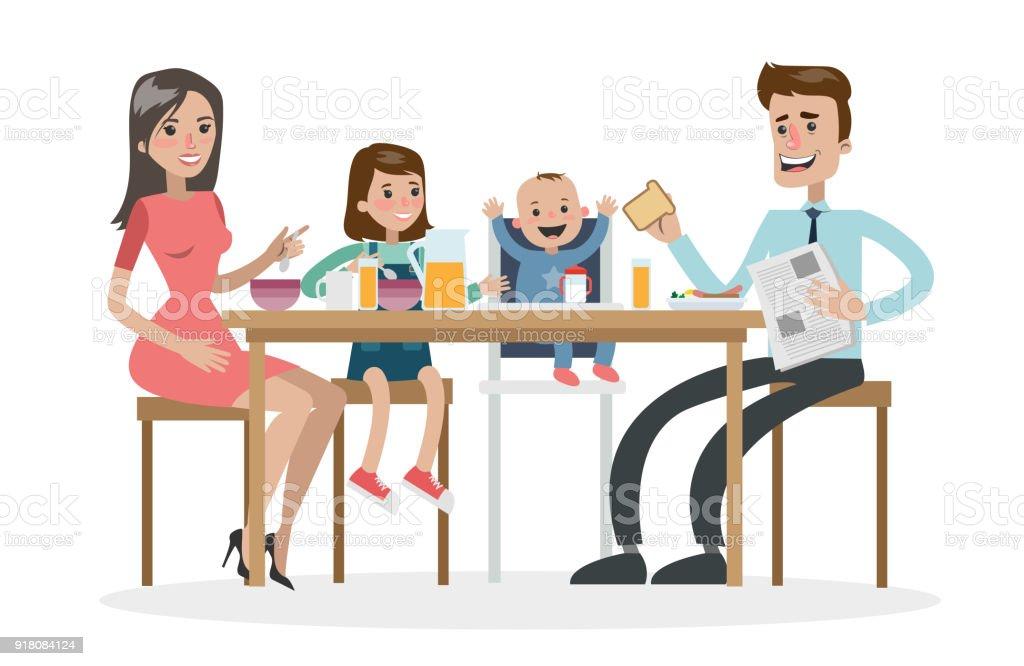 Déjeuner familial heureux. - Illustration vectorielle