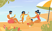 Happy Family Summer Vacation Leisure Time. Mother, Father, Daughter and Son Building Sand Castle and Playing at Seaside. Man, Woman and Kids Summer Weekend Sparetime. Cartoon Flat Vector Illustration