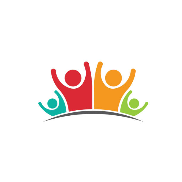 Happy Family business people and projects.  Concept of Group of People, happy team, victory Mother, Father and kids Logo. Concept of Group of People, happy team, victory happy family stock illustrations