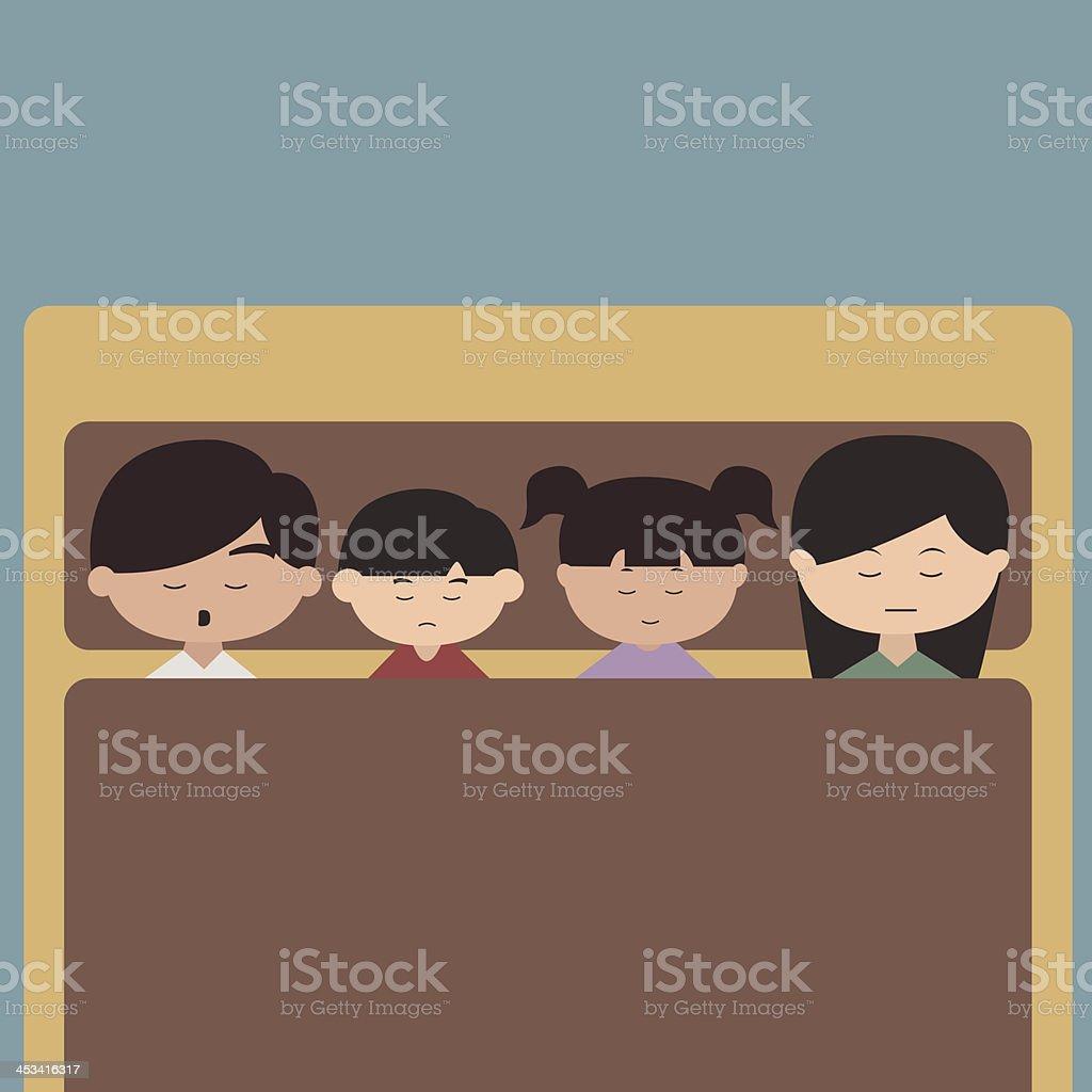 Happy family cartoon character sleeping vector royalty-free stock vector art