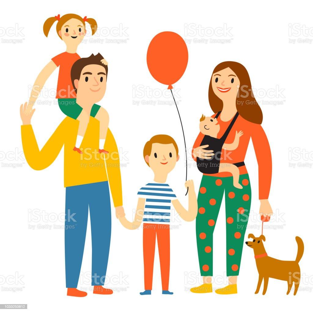 Ilustración De Ilustración De Dibujos Animados Familia Feliz Y Más