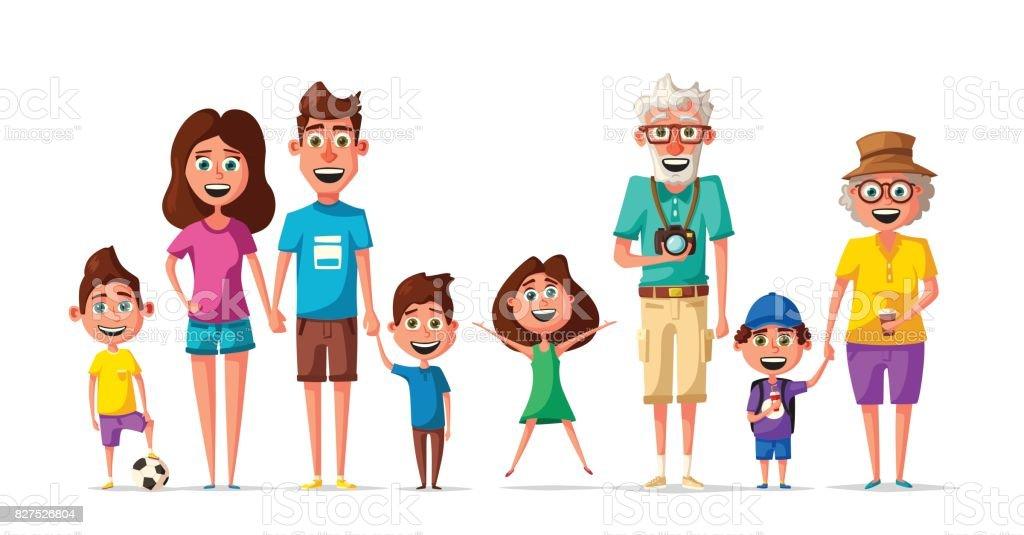 Happy Family Cartoon Vector Illustration Royalty Free Stock