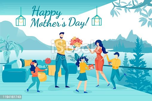 Happy Family Celebrate Happy Mothers Day Flat Greeting Poster. Cartoon Father with Kids Giving Flowers Bouquets, Gifts and Postcard to Loving Mom. Lounge Area Cafe Interior. Vector Illustration