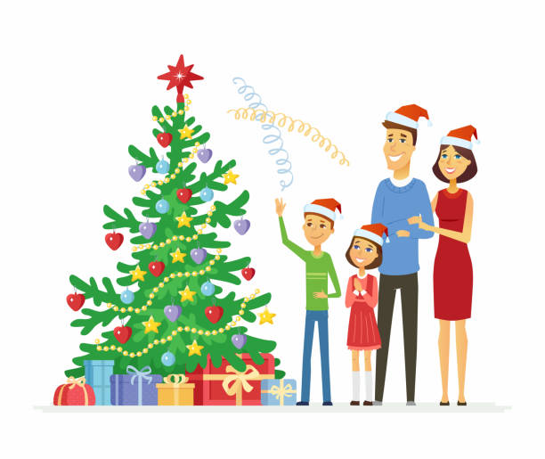 Christmas Decorating Clip Art.Best Decorating The Christmas Tree Illustrations Royalty