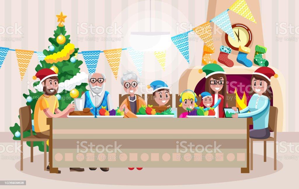 Happy family celebrating Christmas vector art illustration