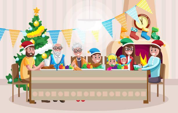 ilustrações de stock, clip art, desenhos animados e ícones de happy family celebrating christmas - family christmas