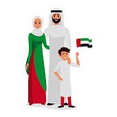 Happy family celebrating the UAE Independence Day.