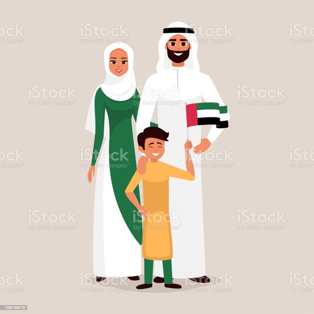 아랍 에미리트 연방 독립 기념일을 축 하 하는 행복 한 가족. - 로열티 프리 12월 벡터 아트