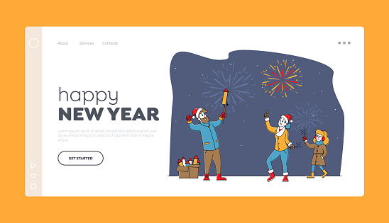 Happy Family Characters Enjoy Holidays Fireworks Landing Page Template. Outdoor Christmas, New Year Holiday Celebration