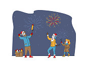 Happy Family Characters Mother, Father and Daughter Enjoying Fireworks Outdoor for Christmas or New Year Holiday Celebration, Man with Petard, Girl with Sparkler. Linear People Vector Illustration